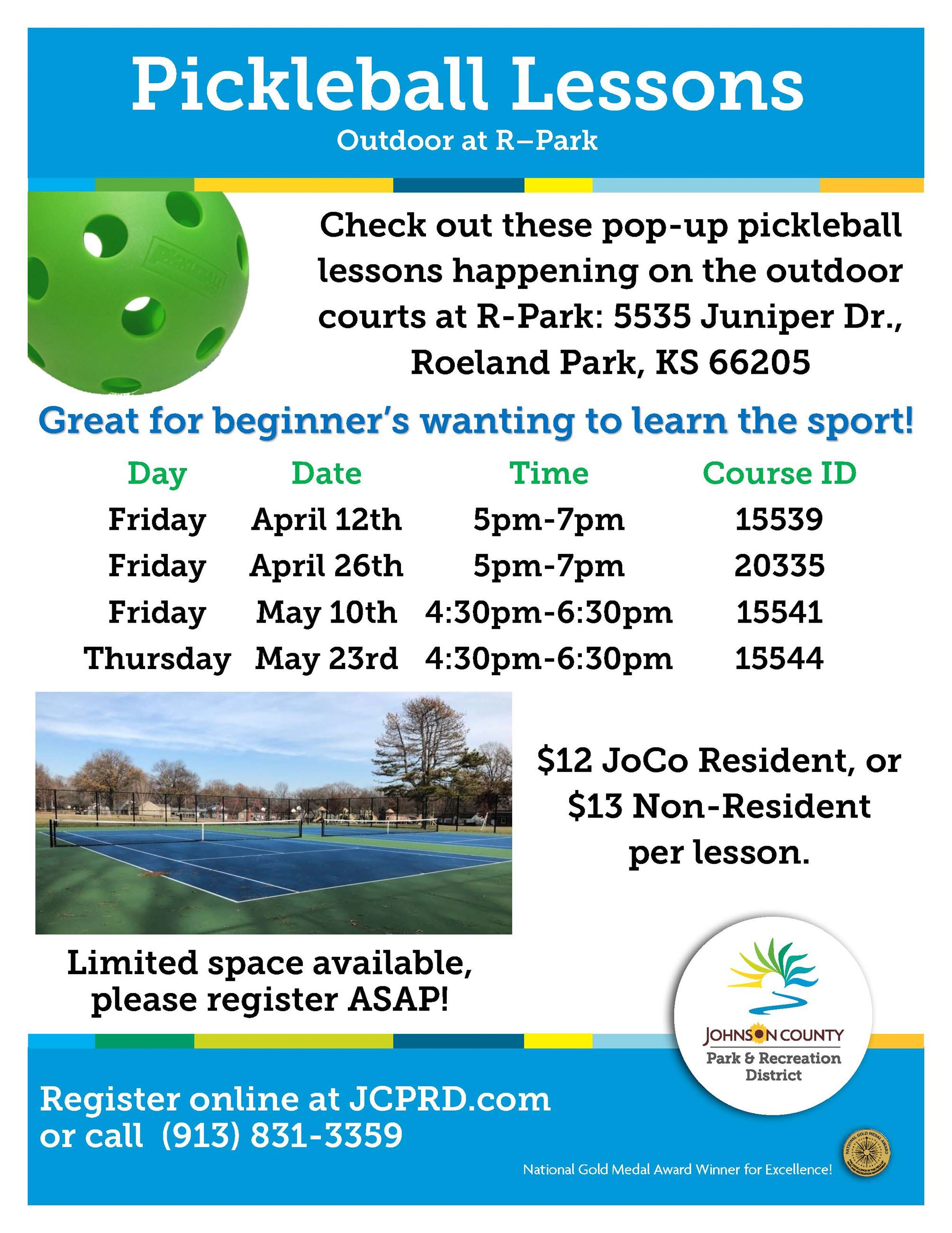 pop-up pickleball lessons at R Park