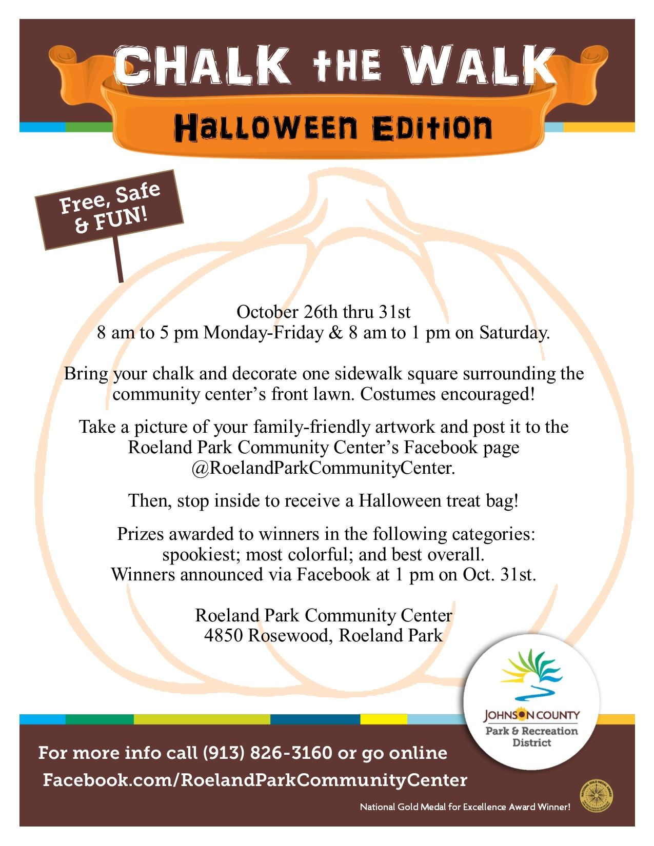 Halloween Chalk the Walk Flyer- Roeland Park Community Center