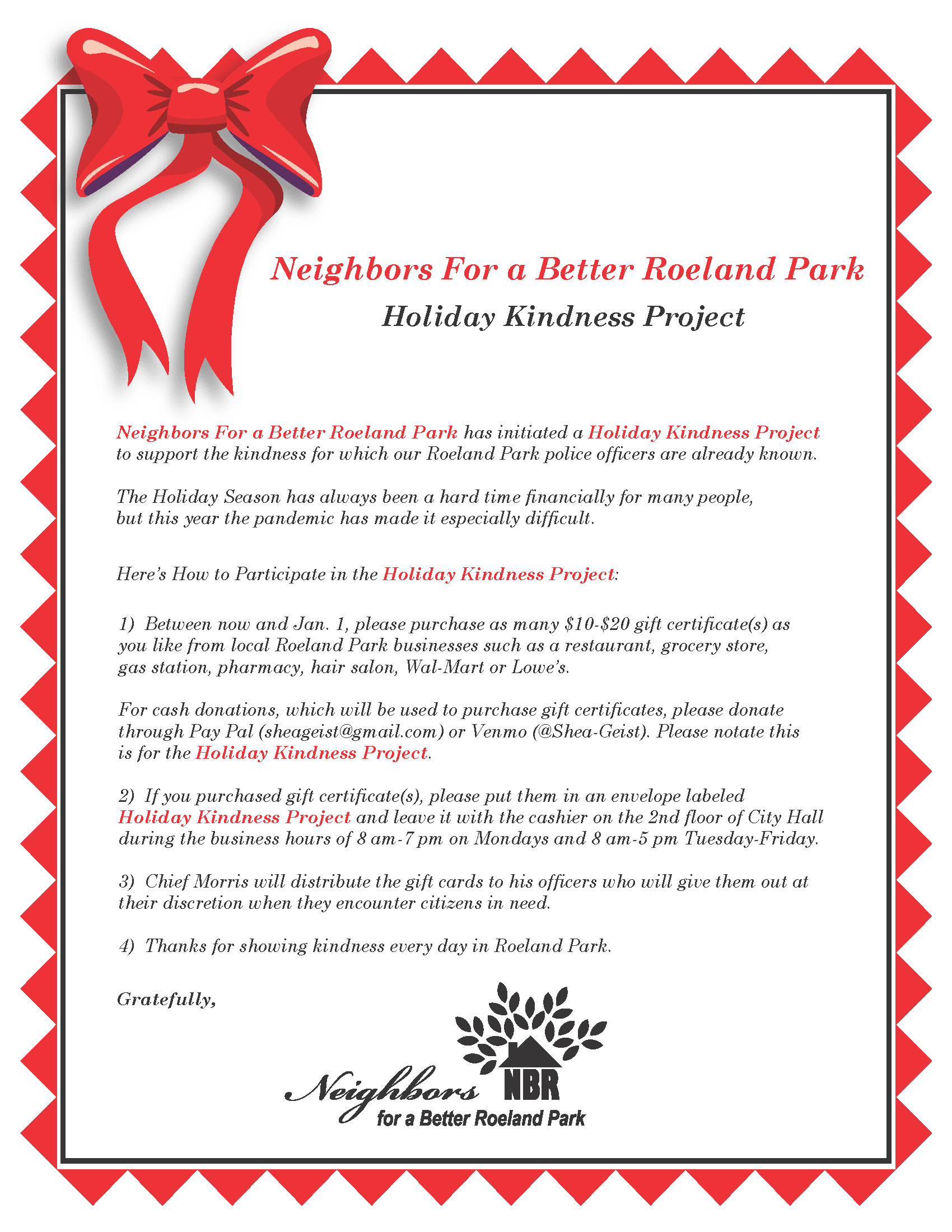 Holiday Kindness Project 2020