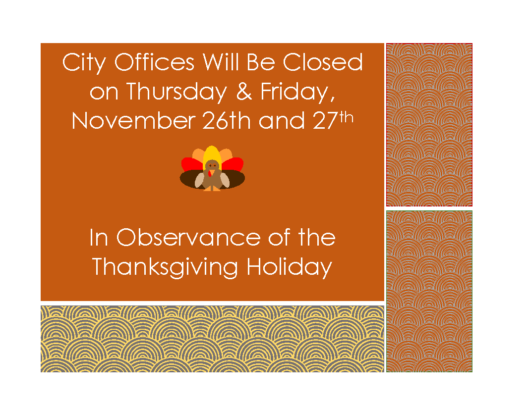 Offices Closed Sign Thanksgiving
